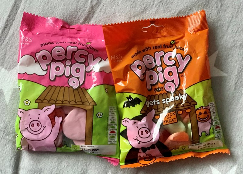 Percy Pigs original and Halloween packets
