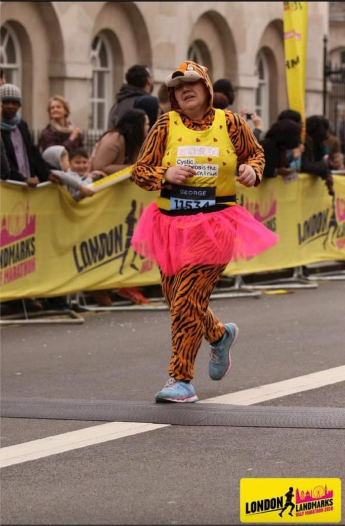 London Landmarks Half Marathon in a tiger onesie for CF