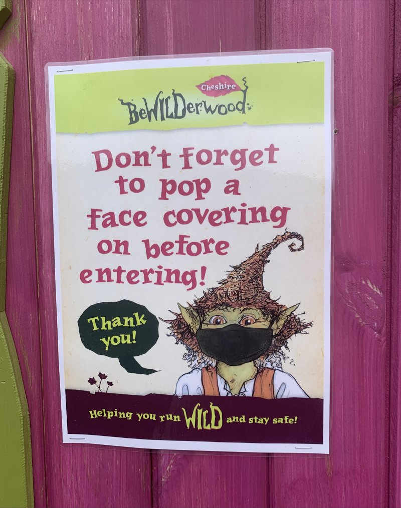 reminder to wear a face covering Bewilderwood Cheshire