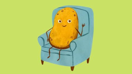 potato sitting on a chair