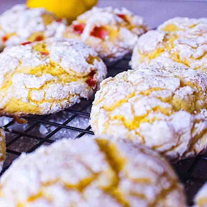 lemon crinkle cookies fresh out of the oven