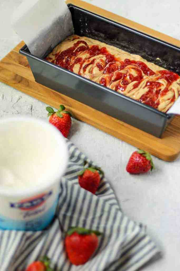 Peanut Butter and Jelly Yogurt Loaf Cake Batter - Pink Owl Kitchen