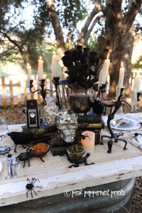 Styled Shoots: Pottery Barn Halloween Party: Bone Appetit Dinner Table Set Up
