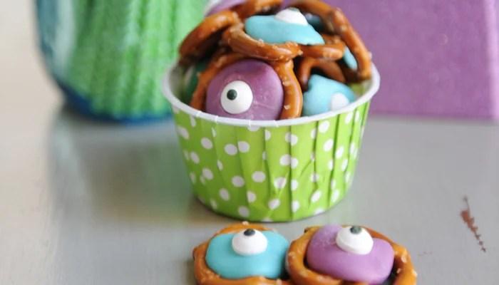 Party Food Ideas: Disney Monster's Inc. Monster's University Pretzel Snacks