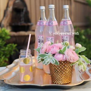 DIY: Super Cute and Easy 2 Step Gold Polka Dot Party Drink Bottles
