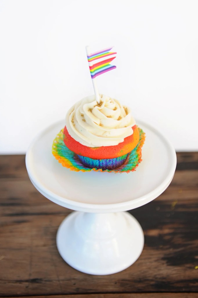cupcake with tie dye wrapper