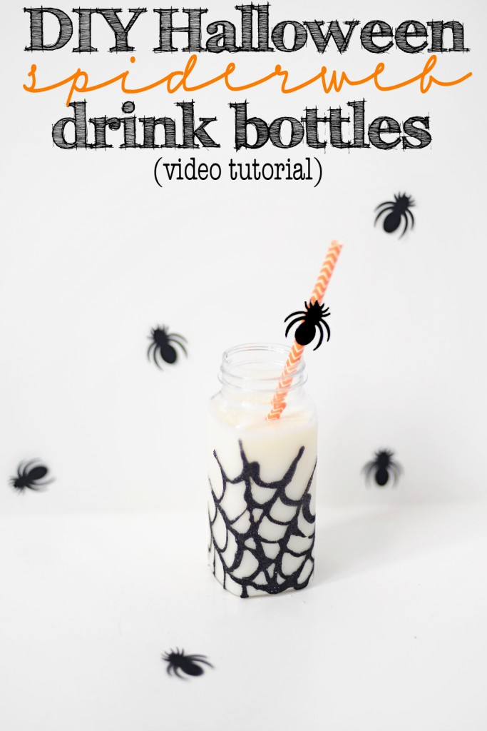 DIY Halloween Glitter Spiderweb Party Drink Bottles–Video Tutorial