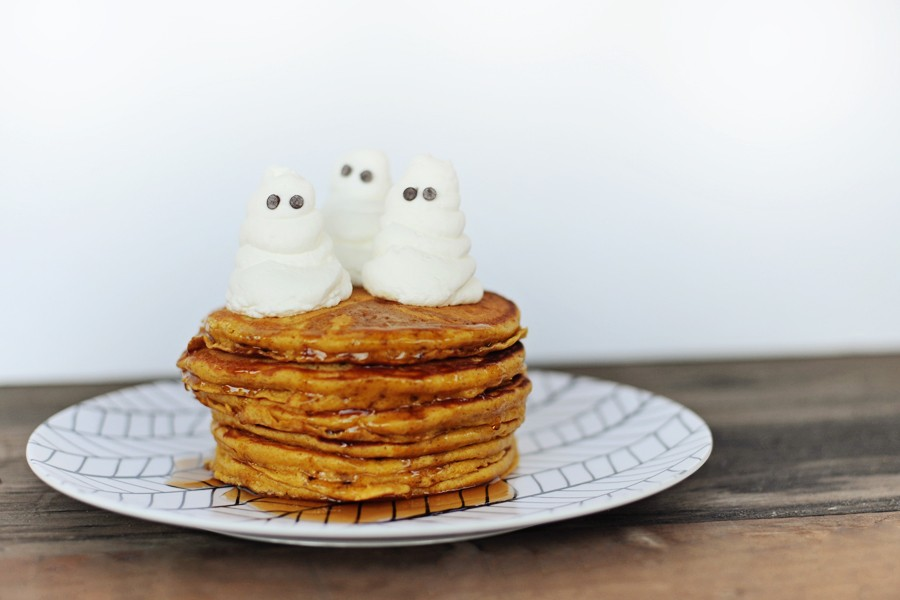 easy-pumpkin-pancakes-recipe-with-whipped-cream-ghosts