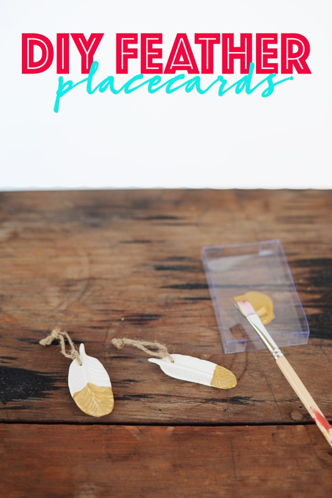 Diy feather placecards