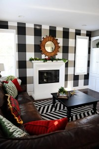 Buffalo Plaid Black and White DIY Temporary Wallpaper