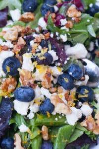 Mixed Greens and Blueberry Salad with a Lemon Honey Vinaigrette