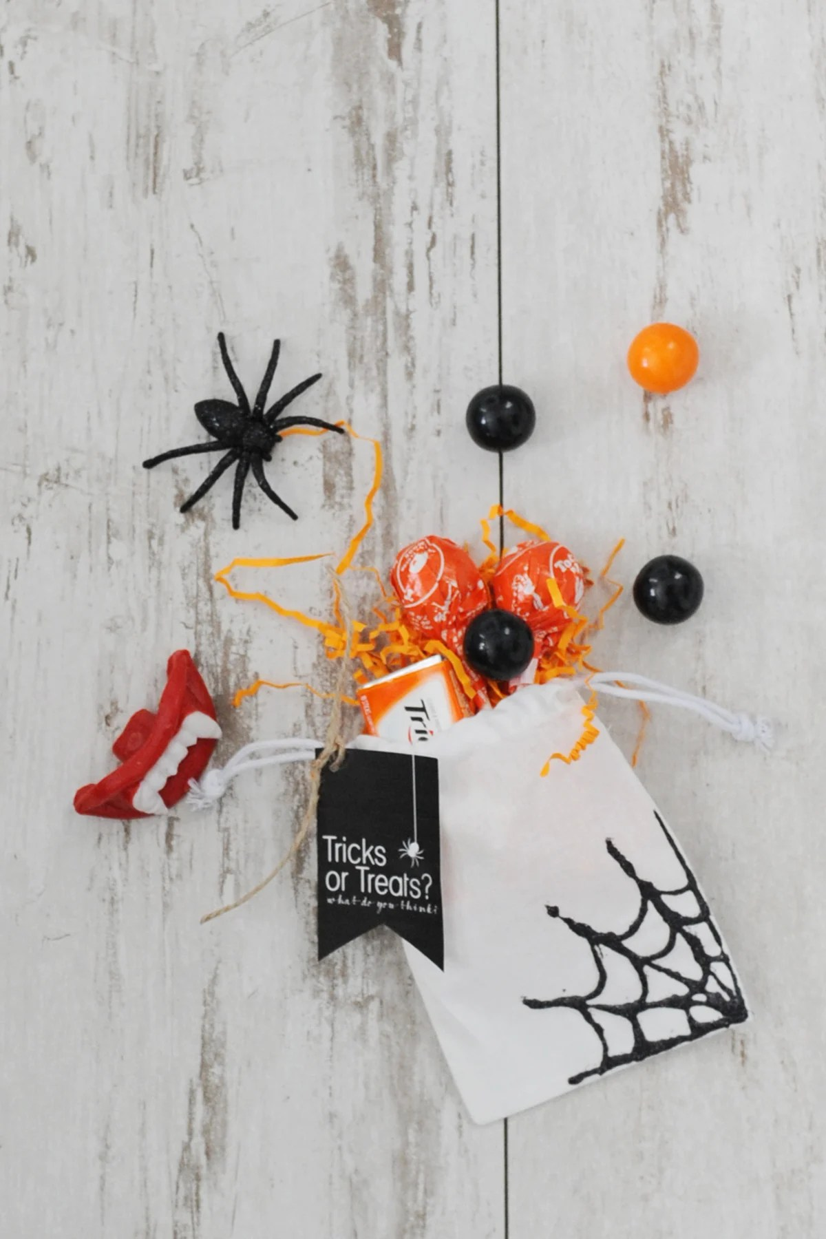 DIY Halloween Trick or Treat Bags with Glitter Spiderwebs