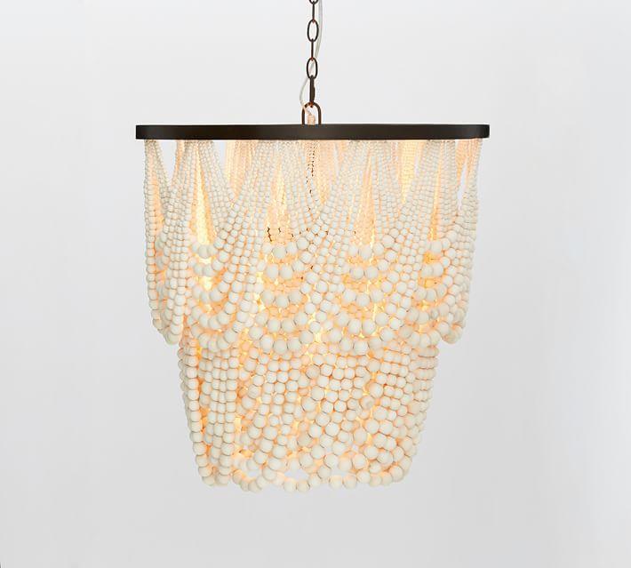 Amelia indoor outdoor wood bead chandelier o