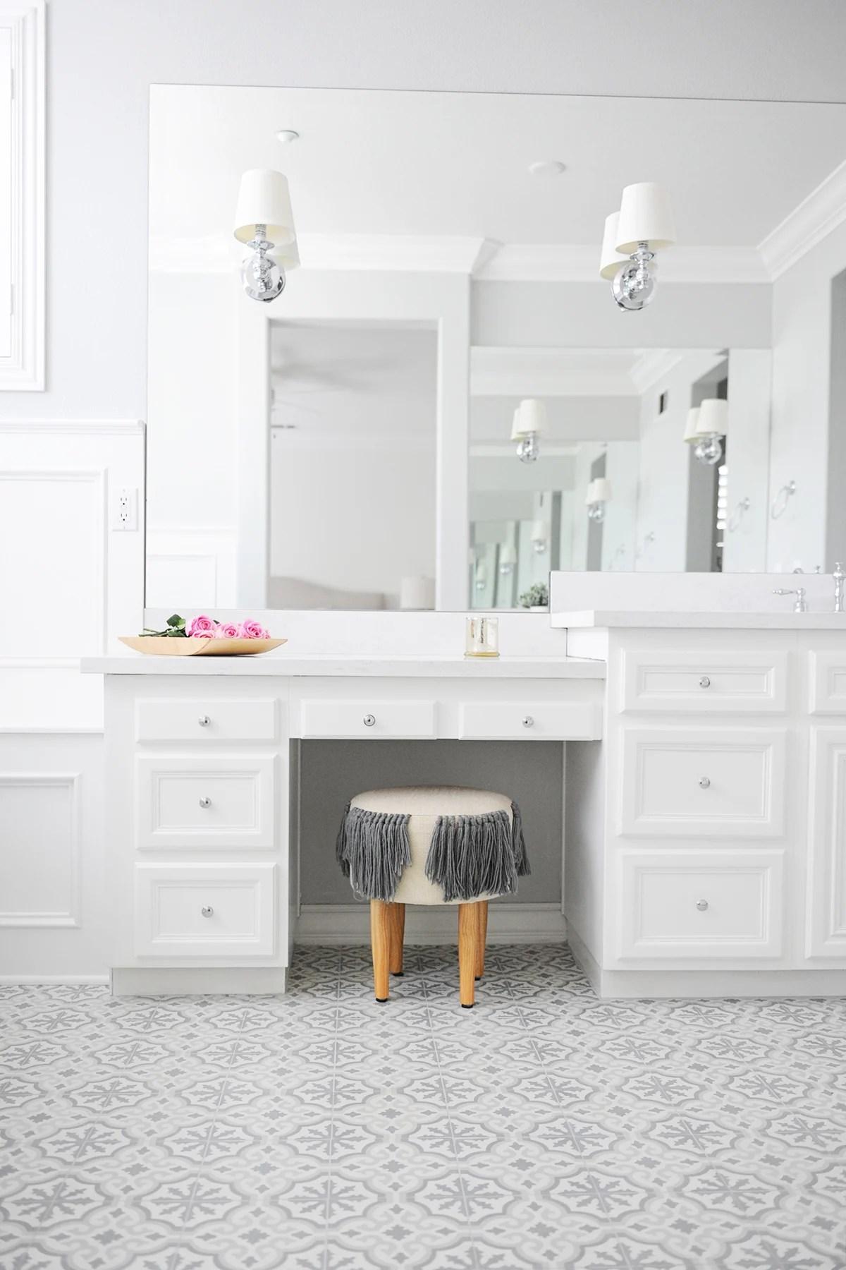 patterned tile bathroom floor