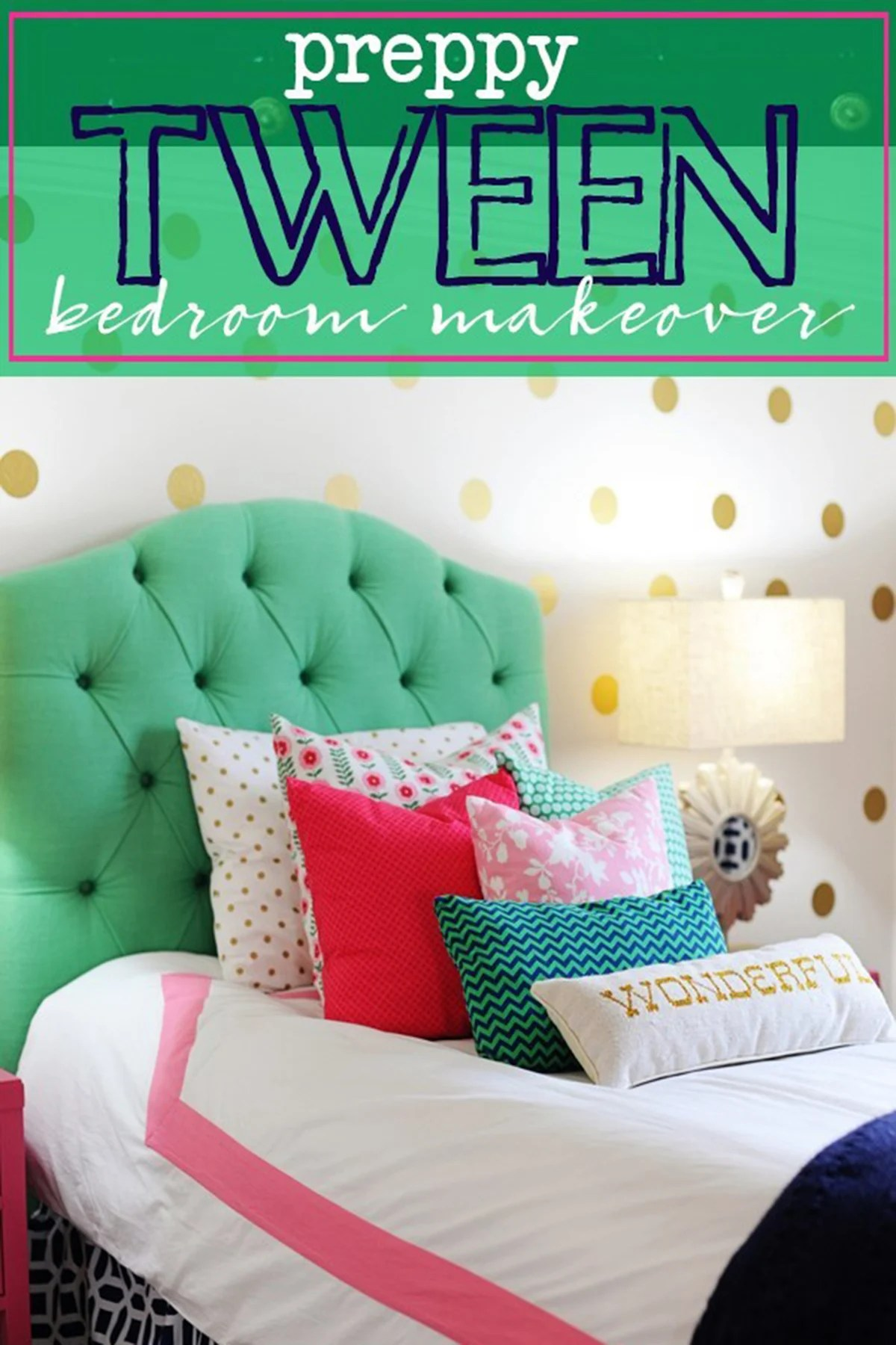 Tween Girl Bedroom Ideas : Preppy Teen Girl Bedroom in Pink, Navy and Green