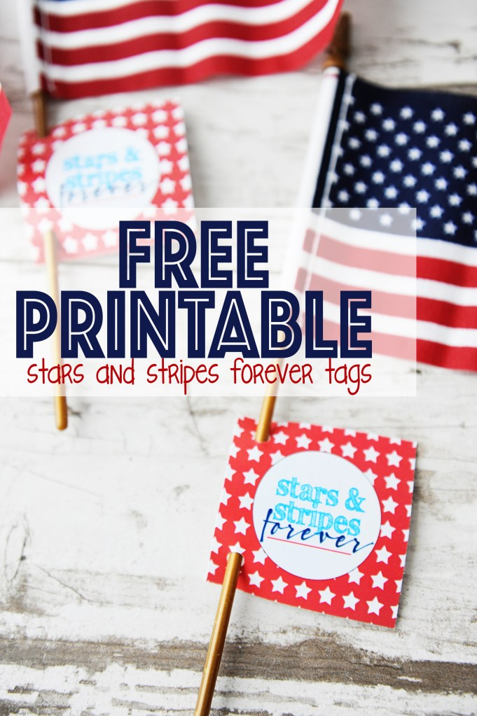 Stars and stripes forever tags with text