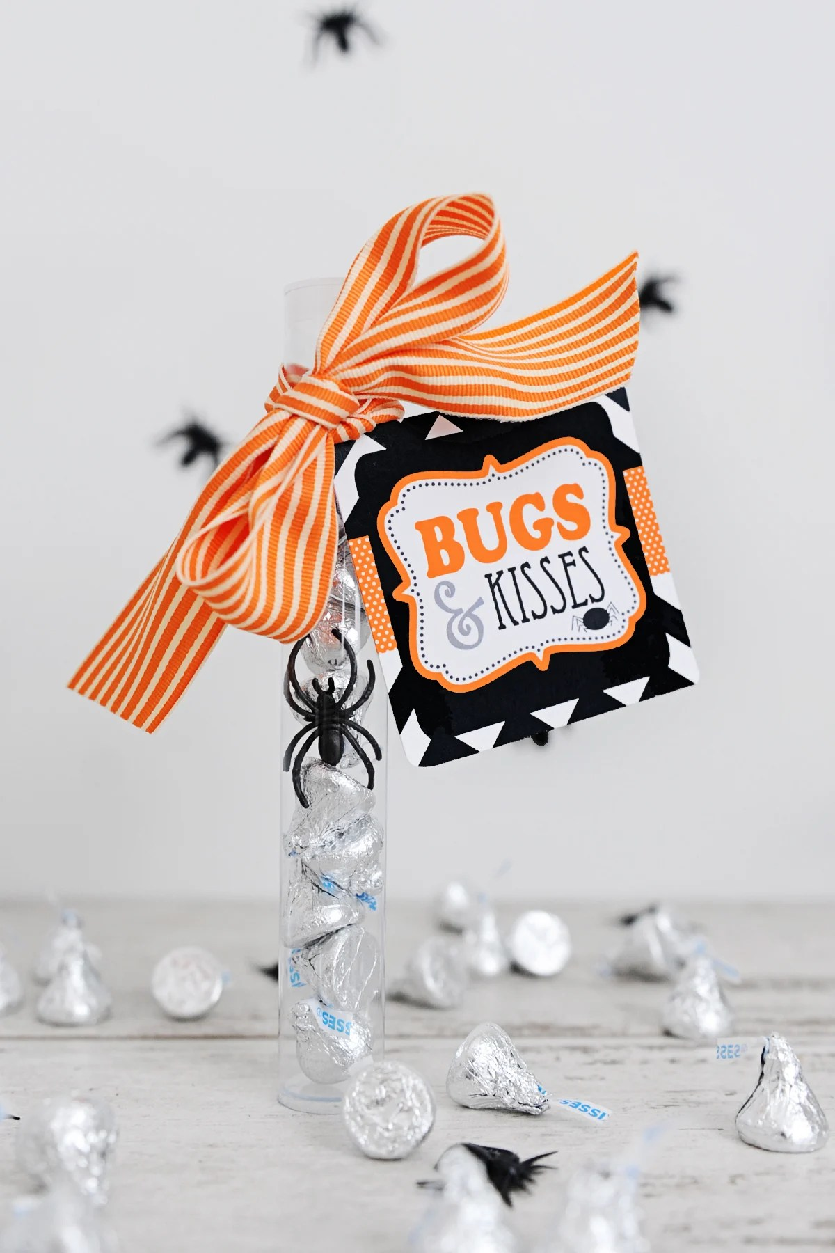 picture about Bugs and Kisses Free Printable known as Lovely Insects and Kisses Printable for Halloween - Red
