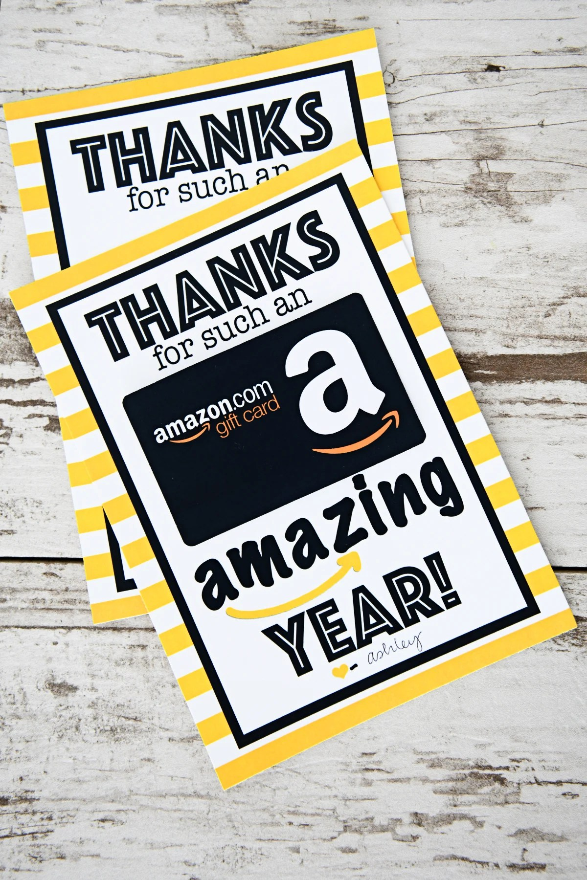 photo about Printable Amazon Gift Card named Free of charge Trainer Appreciation Printable : Because of for an Unbelievable
