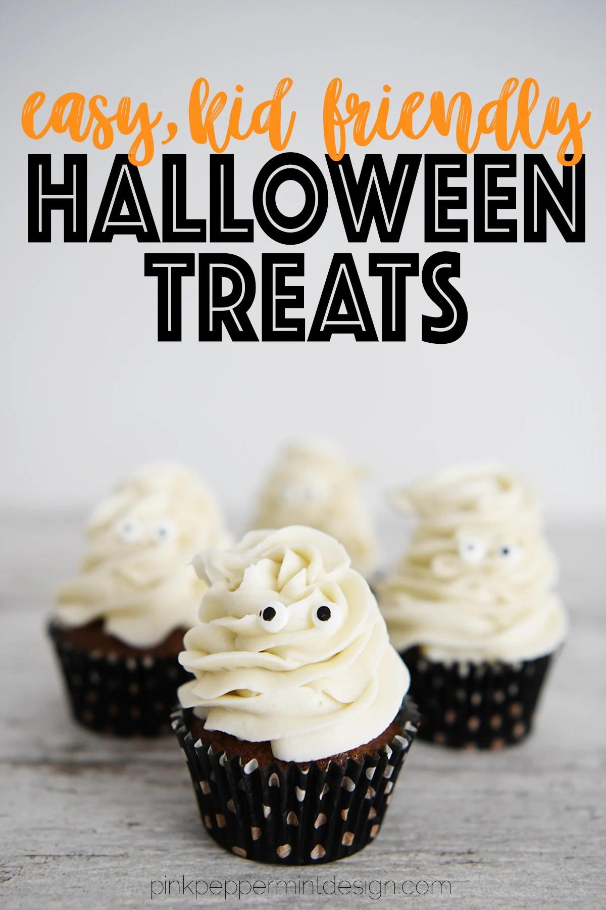 Easy kid friendly Halloween treats : Ghost Cupcakes