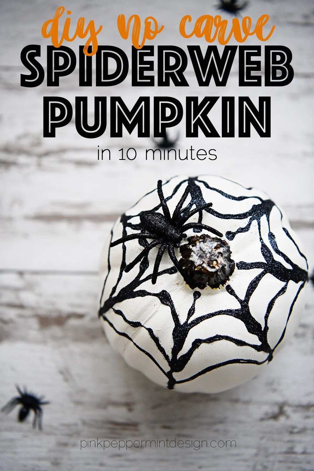 14 Awesome DIY Fall Pumpkins : Spooky Glitter Spider Web No-Carve Pumpkin Idea