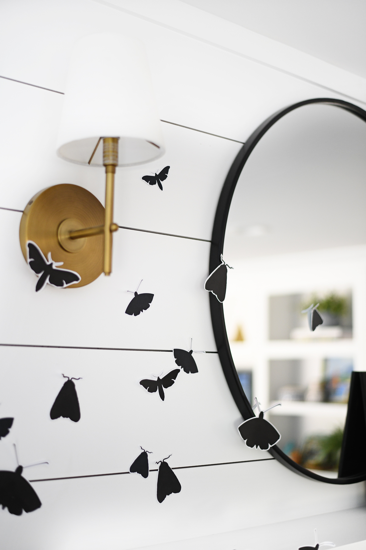 Halloween mantel decor ideas with moths