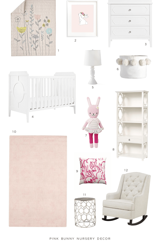 Pink Bunny Nursery Decor Collection