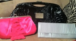 Hot pink, black and silver purses