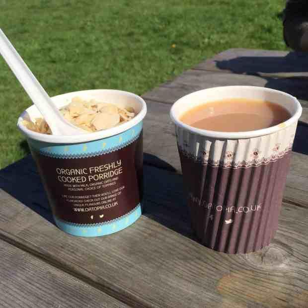 A pot of porridge and a cup of tea