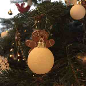 Christmas tree bauble and gingerbread man decoration