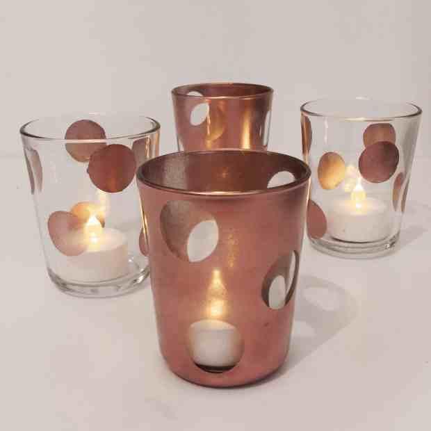 copper polkadot tea light holders