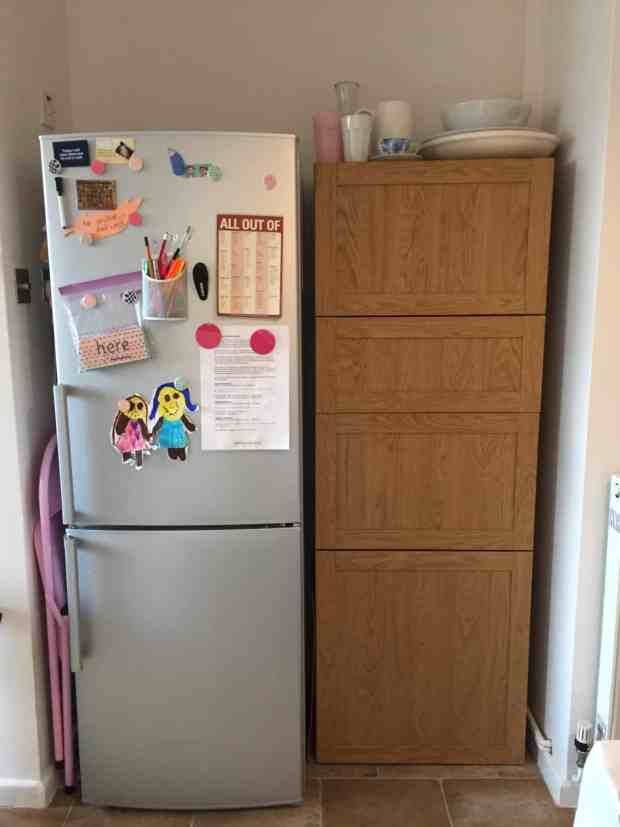 Craft area after: A BESTA unit that fits neatly next to the fridge/freezer