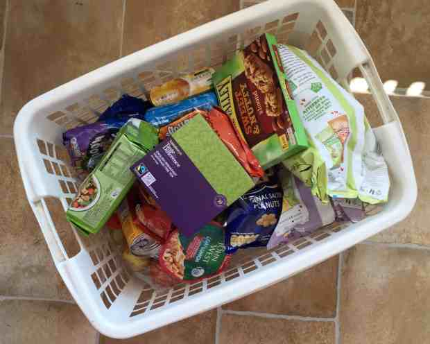 Supermarket delivery in a washing basket to avoid plastic bags