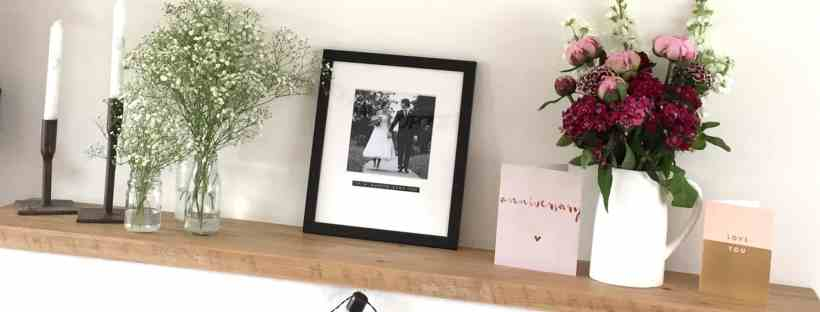 Mantlepiece with Wedding Picture from Bespoke & Oak Co
