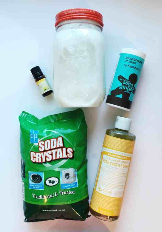 Use Dr Bronner's Organic Castille Soap, Soda Crystals, Bicarbonate of Soda and Essential Oil to make Homemade Natural Laundry Detergent that's effective and better for the environment.