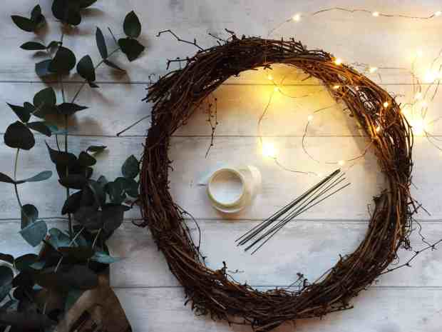 What you'll need to make a simple Christmas wreath