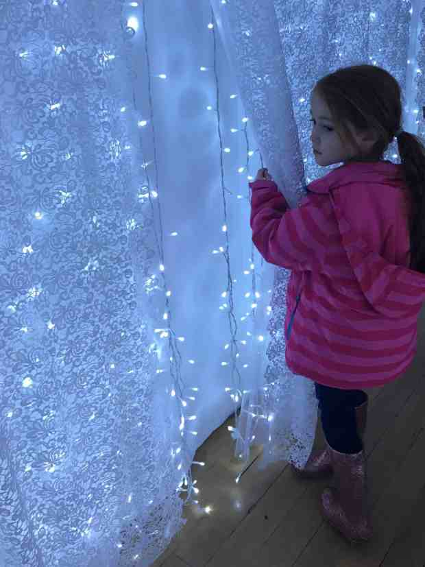 Lit up lace corridor at Waddesdon Manor