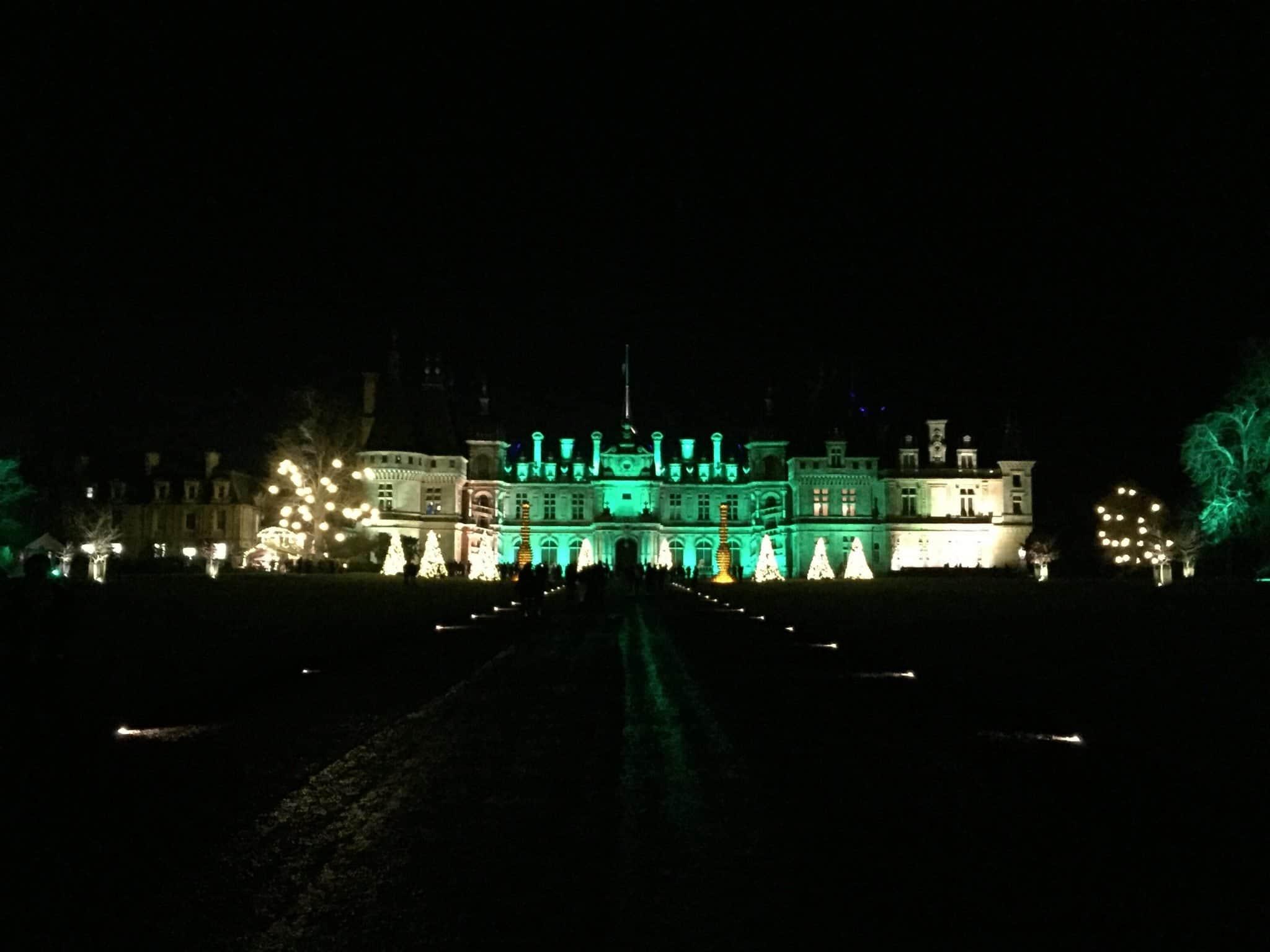 Waddesdon Manor lit up, by night