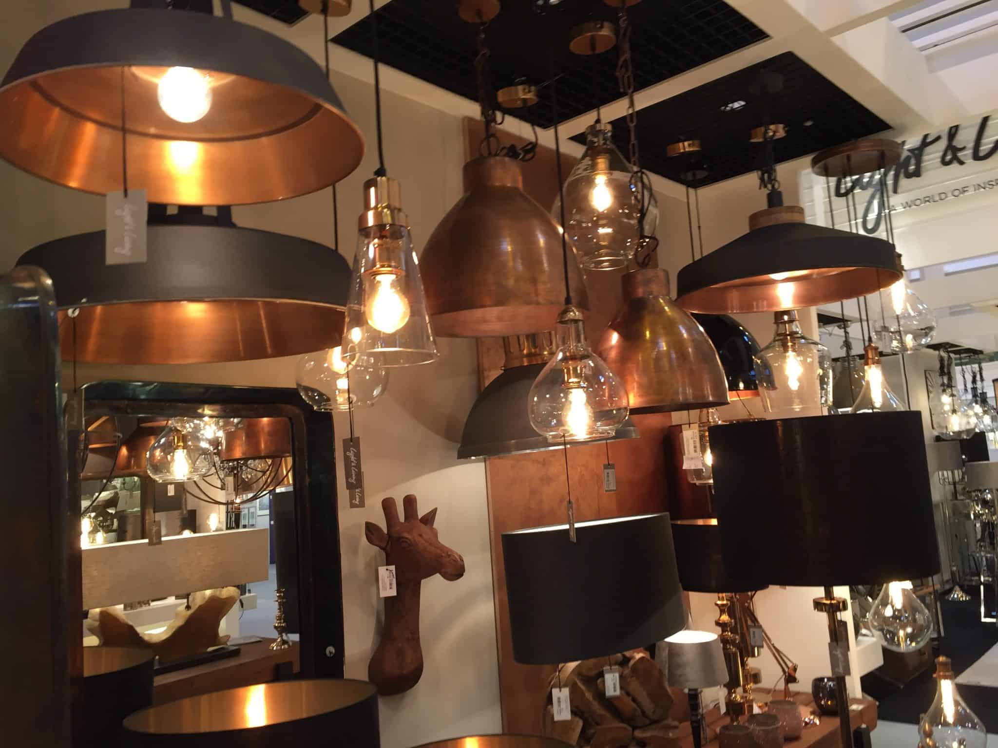 Black and copper lights at the Spring Fair