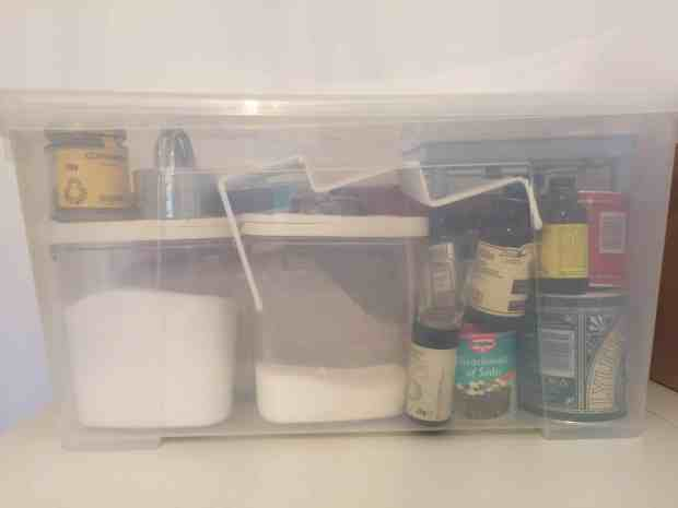 Storing baking goods before installing a new kitchen