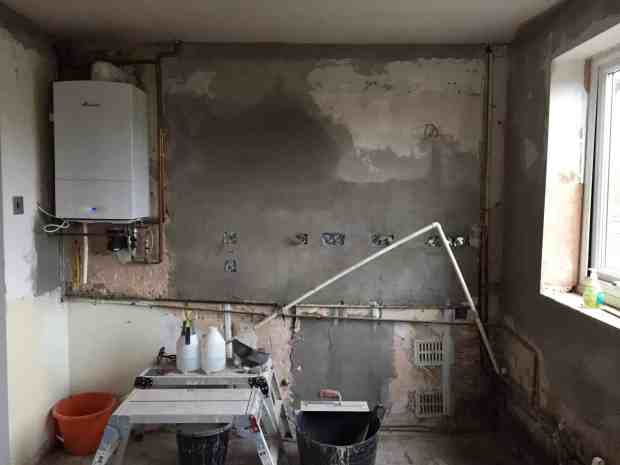 Kitchen Renovation Day 5 with new electrics and plastered walls