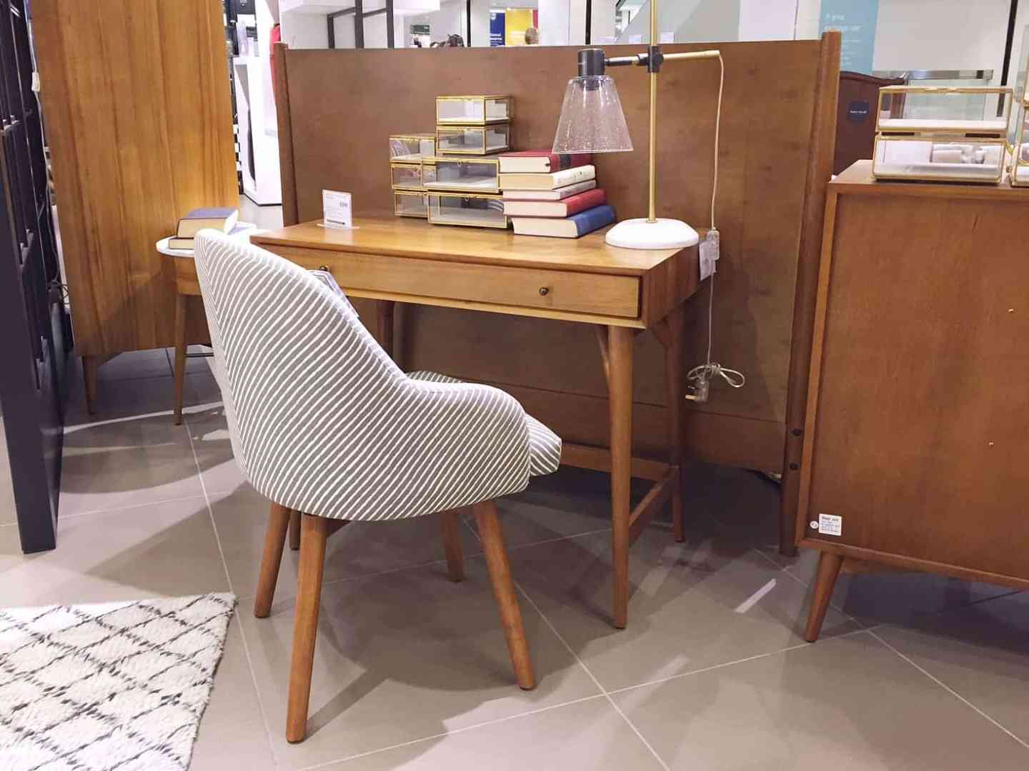 West Elm wooden desk and grey chair