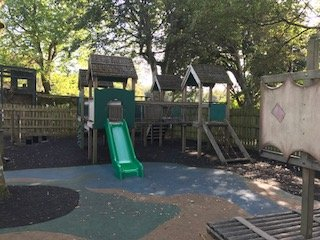 Wooden play area at Paradise Park Wildlife Sanctuary