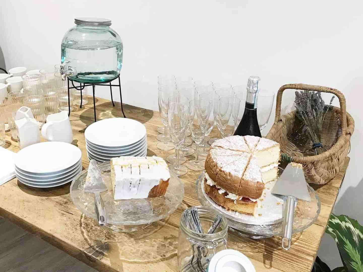 Home made cakes and bubbles at Workshop & Play