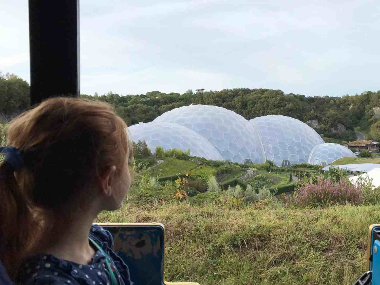 The Eden Project Biomes viewed from the land train