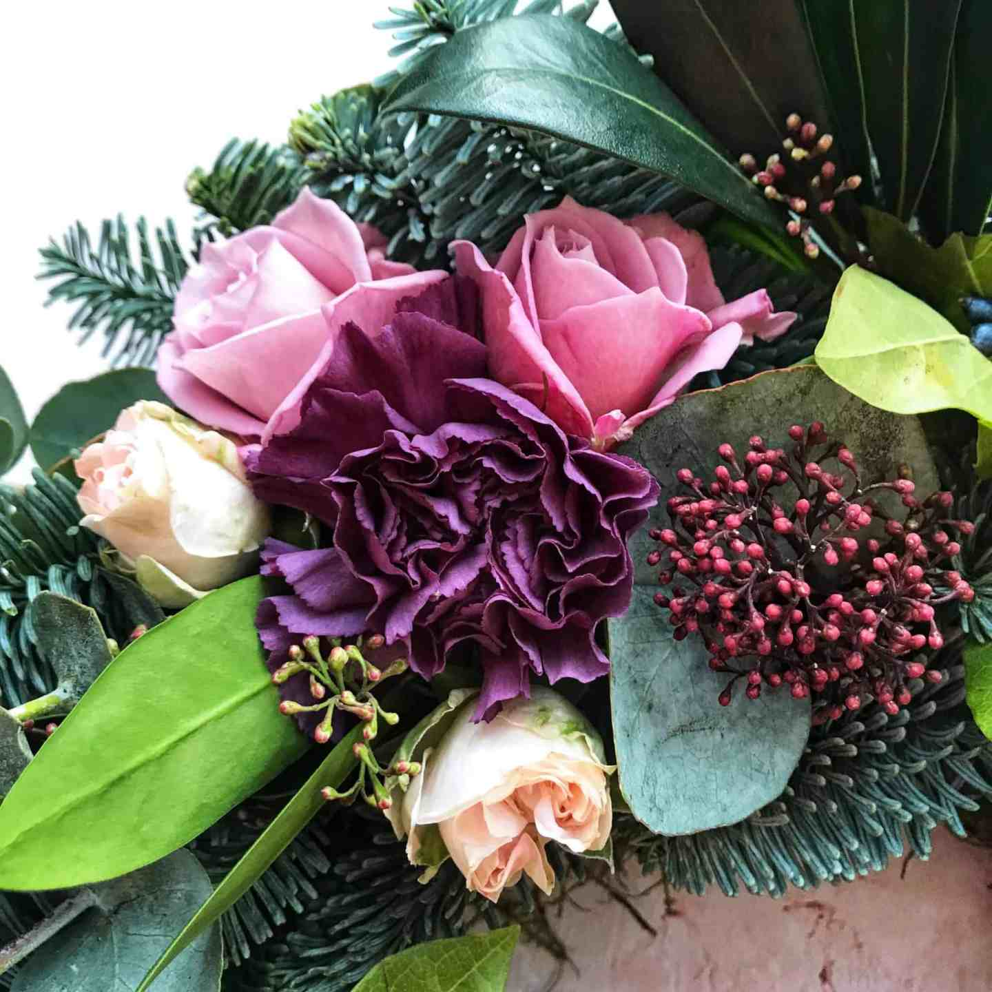 Flowers and berries on my contemporary Christmas wreath