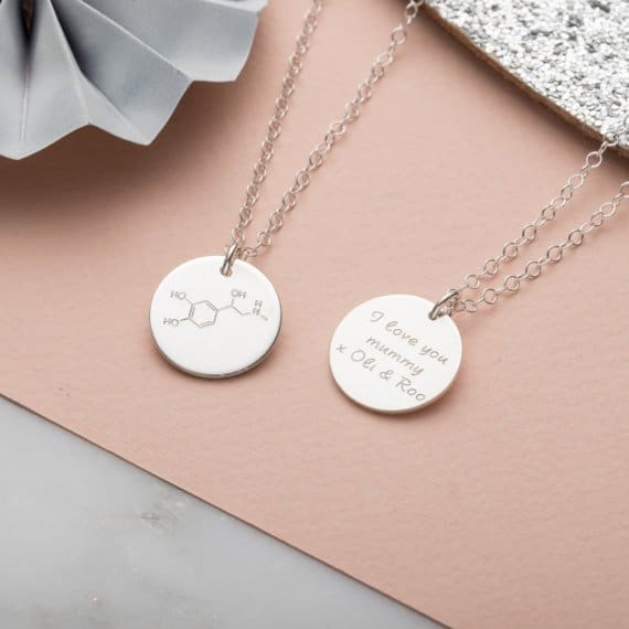 Unique Mother's Day Gift Ideas: PoshTottyDesigns Silver Personalised Energy Molecule Necklace