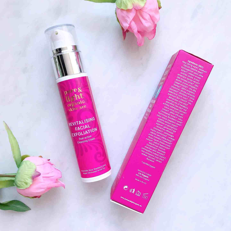 Pure & Light Organic Skincare Revitalising Facial Exfoliation Dual-Action Cleansing Cream ingredients