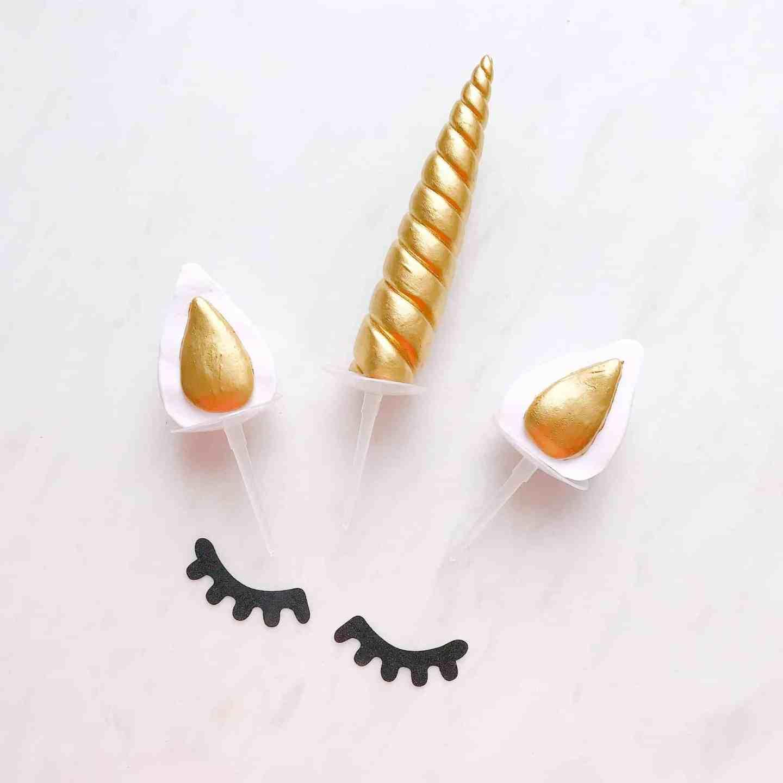 Unicorn horn, ears and eyelashes for unicorn cake