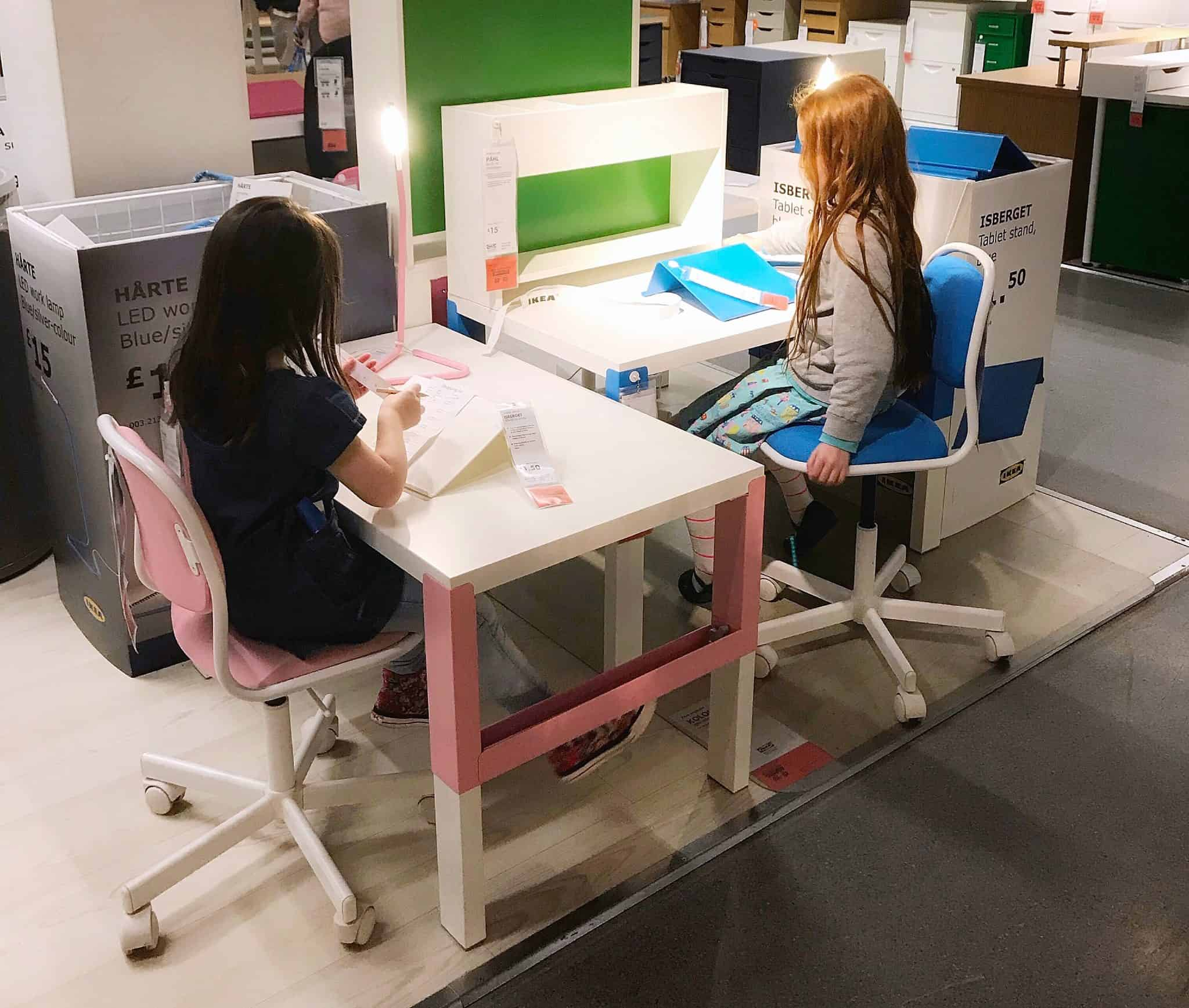 White Ikea Pahl Desks
