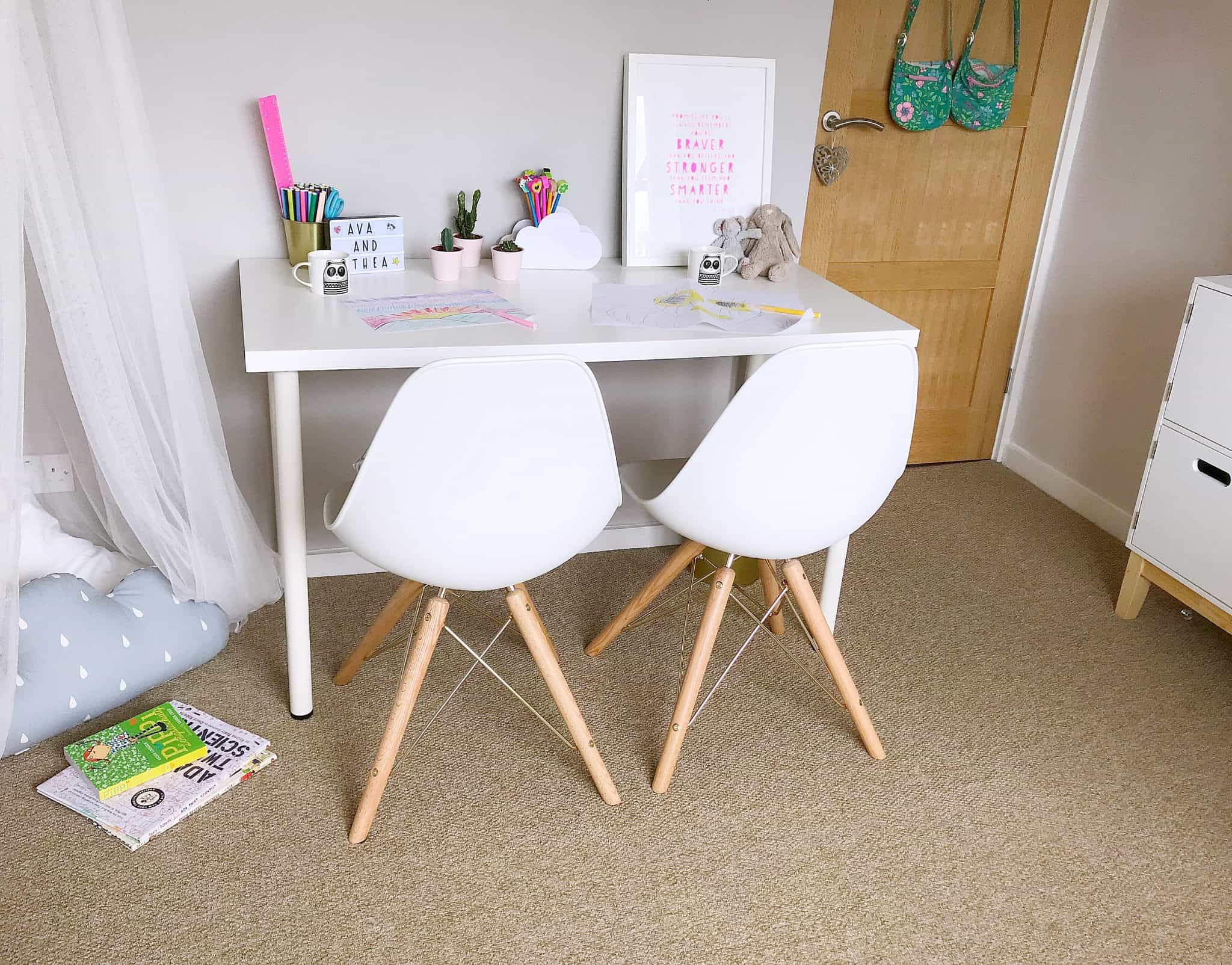 Playroom with White and gold Cult Furniture Moda Dining Chairs, the perfect chairs for kids to grow up with